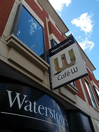 Waterstones - Sutton branch, with Café W signage