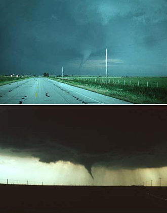 Photographs of the Waurika, Oklahoma tornado of May 30, 1976, taken at nearly the same time by two photographers. In the top picture, the tornado is lit by the sunlight focused from behind the camera, thus the funnel appears bluish. In the lower image, where the camera is facing the opposite direction, the sun is behind the tornado, giving it a dark appearance. Waurika Oklahoma Tornado Back and Front.jpg