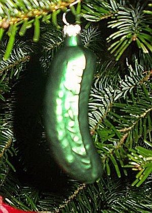 Christmas decoration - A Christmas pickle produced by Lauschaer Glaskugelhaus of Germany