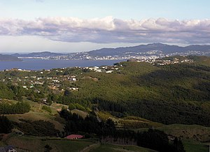 Normandale, New Zealand - View toward Wellington from the top of Normandale Road