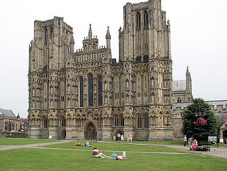 Diocese of Bath and Wells - The episcopal seat of the Bishop of Bath and Wells; Wells Cathedral, Somerset. The west front is seen here.