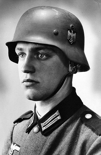 "The blond-haired, blue-eyed Werner Goldberg (1919-2004) was used in Wehrmacht recruitment posters as the ""ideal German soldier"". He was later ""dismissed"" after it became known that he was a ""Mischling ersten Grades"" as defined by the Nuremberg Laws, having half Jewish ancestry. WernerGoldberg.jpg"