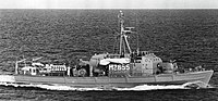 West German minesweeper Nixe (M2655) underway in the Baltic Sea, circa in 1980.jpg