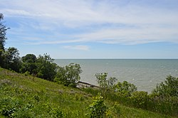 Lake Erie shoreline looking west from Lakefront Lodge Metropark