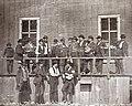 White men pose, 104 Locust Street, St. Louis, Missouri in 1852 at Lynch's Slave Market - (cropped).jpg