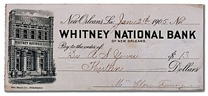 Bank check from Whitney Bank, New Orleans, Lou...