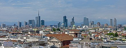 Milan, Italy. Wide angle Milan skyline from Duomo roof.jpg