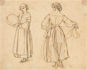 Drawn Study for Roman Woman Dancing