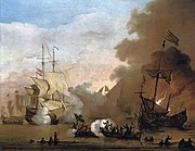 Willem van de Velde de Jonge - Een actie van een Engels schip en schepen van de Barbarijse zeerovers