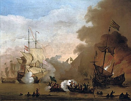 An action between an English ship and vessels of the Barbary Corsairs Willem van de Velde de Jonge - Een actie van een Engels schip en schepen van de Barbarijse zeerovers.jpg