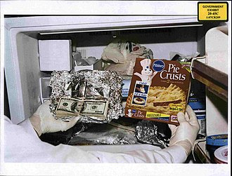 Bribery - Photo of cash found in Congressman William J. Jefferson's freezer in the August 2005 raid was shown to jurors on 8 July 2009