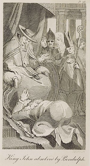 "Pandulf Verraccio - ""King John Absolved by Pandulph"" 1797 line engraving by William Blake after Henry Fuseli"