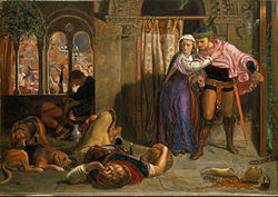 William Holman Hunt: The flight of Madeline and Porphyro during the drunkenness attending the revelry (The Eve of St. Agnes)