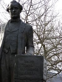 Statue of Bryan on the lawn of the Rhea County, Tennessee courthouse in Dayton, Tennessee.