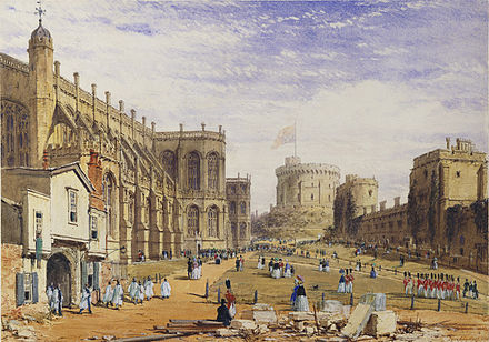 The Lower Ward in 1840, by Joseph Nash, showing the Military Knights attending chapel on a Sunday morning WindsorLowerBaileyJosephNash1848 edited.jpg