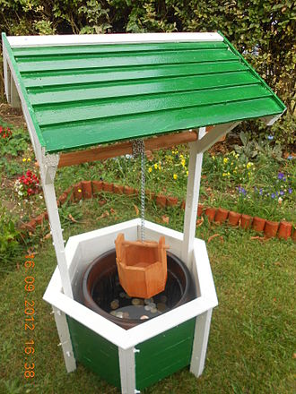 Wishing well - A small ornamental garden wishing well, with coins to wish for