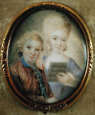 Maria Anna Mozart - Wolfgang and Nannerl Mozart, c. 1763, by Eusebius Johann Alphen (1741–1772)