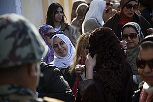 Egyptian Constitution of 2012 - Women in Giza wait to vote in Egypts constitutional referendum on 22-Dec-2012