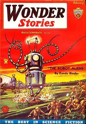 Eando Binder - Binder's The Robot Aliens was the cover story in the February 1935 issue of Wonder Stories