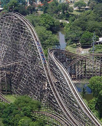 Kinetic energy - Image: Wooden roller coaster txgi