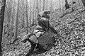Woods, excursion, genre painting, backpack, rock Fortepan 19251.jpg