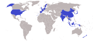 BWF World Championships - The map shown the countries which at least achieve a bronze medal during the tournament