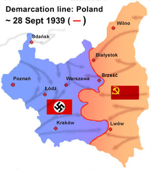 Territories of Poland annexed by the Soviet Union - Temporary borders created by advancing German and Soviet troops. The border was soon readjusted following diplomatic agreements.