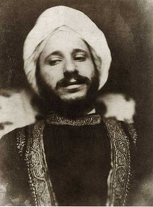 Simeon Solomon - A photograph by David Wilkie Wynfield of Solomon in oriental costume