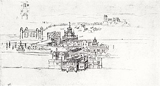 Palace of Whitehall - A sketch of Whitehall Palace in 1544, by Anton van den Wyngaerde.