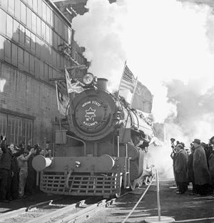 Billion Dollar Gift and Mutual Aid - The first of 145 X-Dominion 2-8-2 locomotives built at a Montreal plant, for shipment to India.
