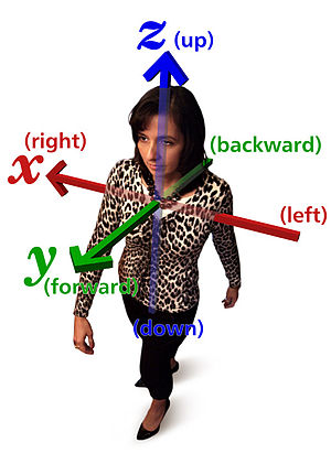 Relative direction - A right-handed Cartesian coordinate system, illustrating the x (right-left), y (forward-backward) and z (up-down) axes relative to a human being.