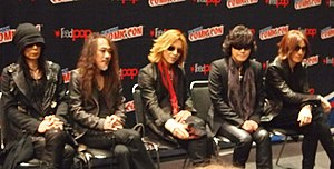 X Japan - X Japan at New York Comic Con in 2014. From left to right: Heath, Pata, Yoshiki, Toshi, and Sugizo.