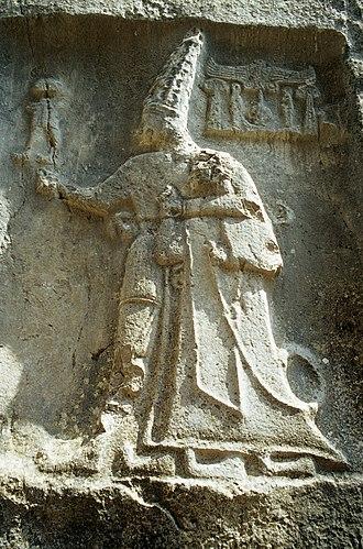 Yazılıkaya - Rock carving in Chamber B depicting god Sharruma and King Tudhaliya dated to around 1250 - 1220 BC.