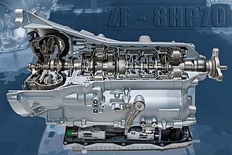 Automatic transmission - A cutaway of an 8-speed ZF 8HP showing the major stages of a hydraulic automatic transmission: the torque converter (left), the planetary gearsets and clutch plates (center), as well as hydraulic and electronic controls (bottom).