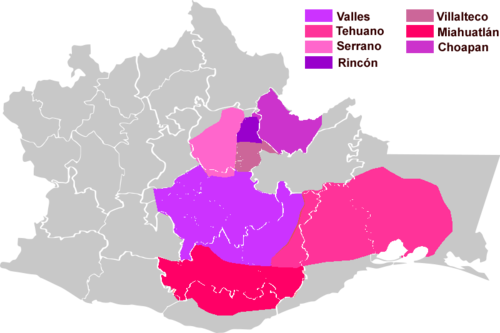 The location of Zapotec dialect groups within the state of Oaxaca. Zapotecan Languages.png