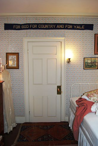 Miss Porter's School - A banner hanging in a themed guest room in the Timothy Cowles House, at Miss Porter's School, gives insight into how Porter's girls lived during the mid 1900s