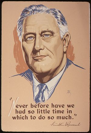 Fireside chats - War Production Board poster quoting FDR's fireside chat of February 23, 1942