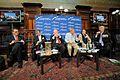 (L to R) Stefano Manservisi, Richard Addis, Miguel Ángel Moratinos, Giles Merritt, Anna Ferrer, Charles Goerens MEP.jpg