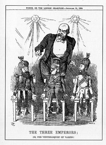 Карикатура из журнала «Панч». Бисмарк манипулирует Россией, Австрией и Германией