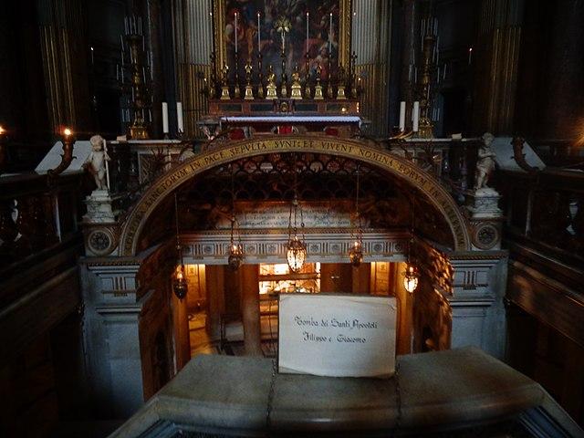 Крипта в Санти-Апостоли в Риме, где покоятся мощи Филиппа и Иакова мл.
