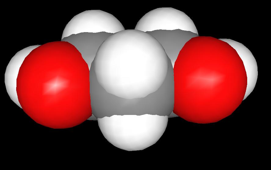 Spacefill model of 1,3-propanediol