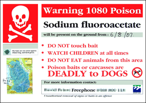 Sodium fluoroacetate - Sign warning of poisonous sodium fluoroacetate baits on the West Coast of New Zealand.