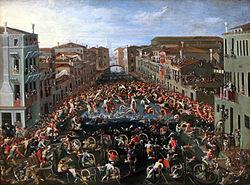 1673 Heintz Wettstreit auf der Ponte dei Pugni in Venedig anagoria.JPG