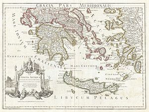 1794 Delisle Map of Southern Ancient Greece, G...