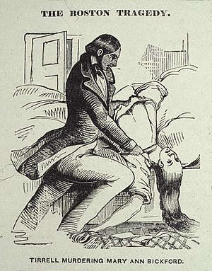 """Homicidal sleepwalking - """"The Boston Tragedy,"""" the murder of Maria Bickford, 1846; Tirrell was acquitted because of """"sleepwalking."""" National Police Gazette, 1846"""