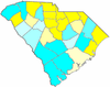 Yellow counties were won by Orr and cyan counties were won by Hampton