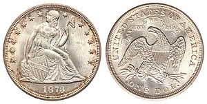 Coinage Act of 1873 - The standard silver dollar was abolished by the Coinage Act of 1873.
