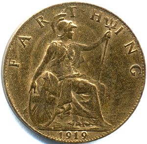 Farthing (British coin) - Old-style reverse used 1895 to 1936 featuring Britannia