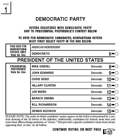 Los angeles county california democratic primary ballot