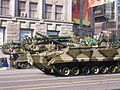 2008 Moscow May Parade Rehearsal - BMP-3 with Buk SAMS in the background.JPG
